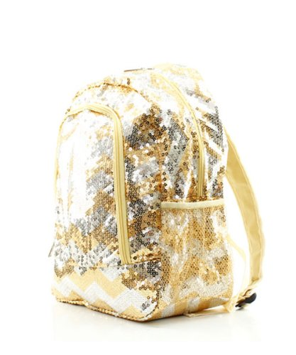 Chevron Sequins Backpack Bookbag Gold And Silver