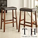 Metro Shop Tribecca Home Nova Cherry Saddle Cushioned Seat 29-inch Bar Stools (Set of 2)
