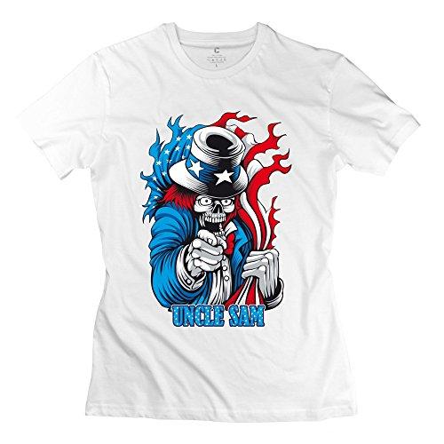 ZWSY Women's Tshirts USA Flag Skull Uncle Sam Size S White (Starbucks Coffee Maker Games Free compare prices)