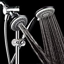 HotelSpa® Instant-Mount Drill-Free Height/Angle Adjustable 30-Setting SpiralFlo 3-Way Shower Head / Handheld Showerhead Slide Bar Combo