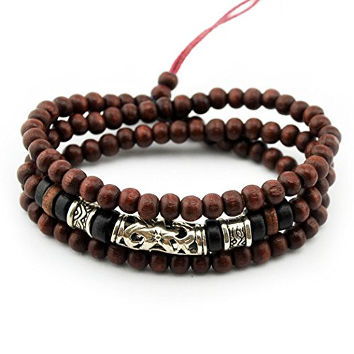 MORE FUN Charm Wooden Beads Multi-layer Bangle Cuff Alloy Tube Adjustable Beaded Bracelet (Leather Bracelet For Men Shark compare prices)