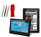 Chromo Inc.® 7 - Tablet PC and Candy Cane Stylus Gift Set with Gift Bag - Android 4.1.3 Capacitive 5 Point Multi-Touch Screen - Black [New Model September 2013]