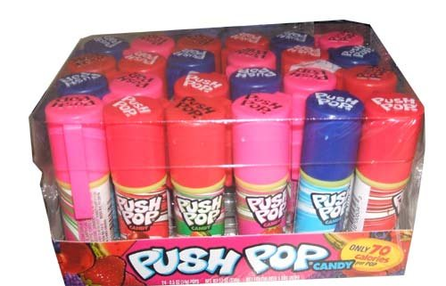 Push Pop Candy, Cotton Candy Bubble Gum Assorted Flavors 24ct