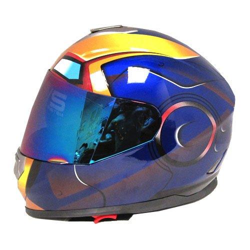 Iron Man DOT Motorcycle Bike Dual Visor Full Face Helmet Golden Blue, Size Large (57-58 CM,22.4/22.8 Inch) (Iron Man Sun Visor compare prices)