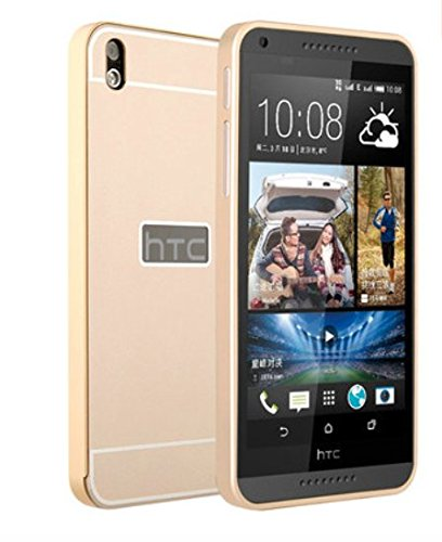 OnlineeMarket Luxury Aluminum Frame+Acrylic Back Cover Case Bumper For HTC DESIRE 816 - GOLD