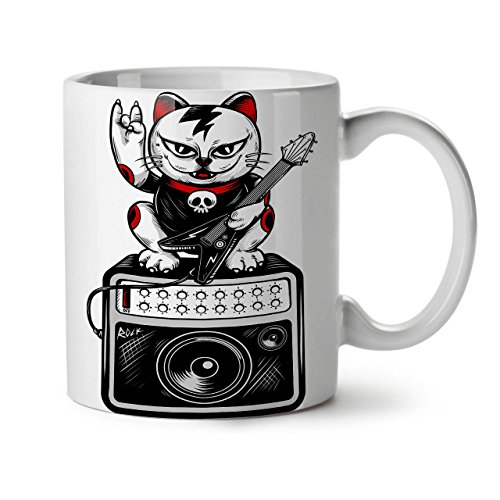 Rock Star musica Band gatto bianco per tè, caffè tazza in ceramica 11 oz | Wellcoda 11 White