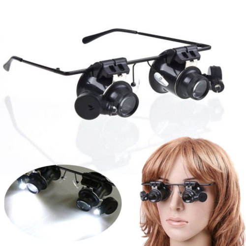 Xidaje High Quality Watch Repair Magnifying Loupe 20X Glasses + Led Light