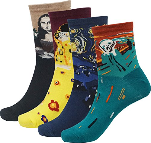 Womens Cartoon Design Art Patterned Socks 1 Pack of 4 Pairs