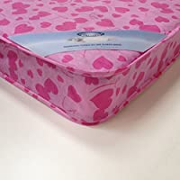 3FT SINGLE LOVEHEART BUDGET MATTRESS WIDTH 3FT (90cm) - LENGTH 6FT3 (190cm) (approx size) PINK LOVEHEART FABRIC AS IN PHOTO