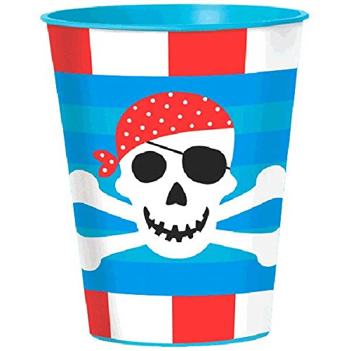 Amscan Pirate's Treasure Birthday Party Cup, 16 oz, Blue
