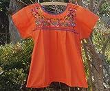 メキシコ刺繍ブラウス オレンジxカラフル