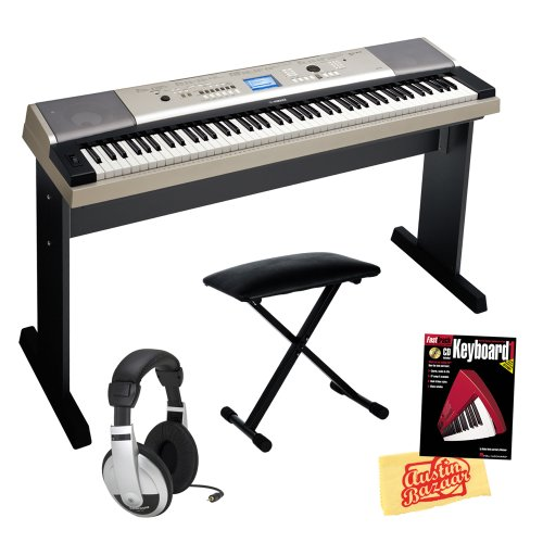 Yamaha Ypg-535 88-Key Portable Grand Keyboard Bundle With Bench, Stand, Sustain Pedal, Power Supply, Headphones, Instructional Book, And Polishing Cloth