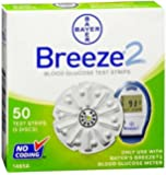 Bayer Breeze 2 Blood Glucose Test Strips, 50 Strips
