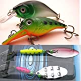 2 x Fishing Spinners + 2 x Rattler Plug Lures Deep & Shallow Divers For Pike Perch - Plugs & Spinners Set