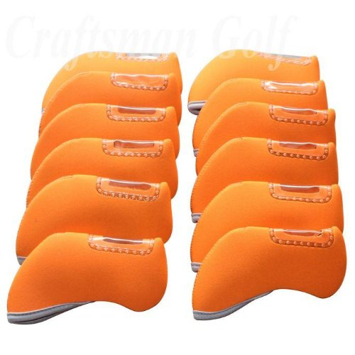 Craftsman Golf 12Pcs Neoprene Golf Iron Club See Through Window Head Cover Protection Case Set - For Taylormade, Nike, Callaway, Etc (Orange) front-543325