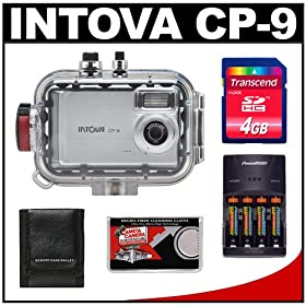 Intova CP-9 Compact Digital Camera with 130' Waterproof Underwater Housing + 4GB Memory Card + Batteries & Charger + Accessory Kit