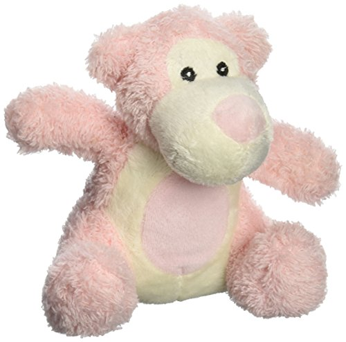 Molly P. Originals Bed Time Bear Shaggy Fur Plush, Pink and White, 5""