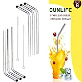Stainless Steel Drinking Straws,Set Of 6 Reusable OUNLIFE BPA Free Bent Stainless Steel Straws With 2 Free Cleaning Brush Fit 20 oz Eco-Friendly