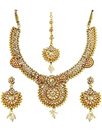 Jewels Gehna Traditional Antique Latest Designer Golden Necklace Set For Women & Girls