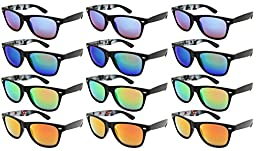 Edge I-Wear 12 Pack High Quality Neon Horn Rimed Sunglasses with 100% UV Protection 5401ABS-REV-12 (ABS-Matte Black, Color Mirrored)
