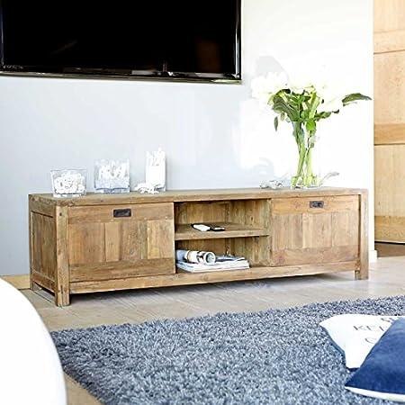 Meuble TV en bois de TECK RECYCLE 160cm - Niches et portes