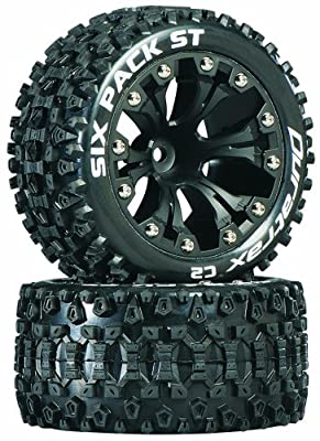 "Duratrax Sixpack ST 2.8"" Truck 2WD Mounted 1/2"" Offset C2 Wheels (2-Piece), Black"