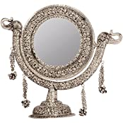 Rajasthan Craft Art Aluminum Antique Round Carving Stand Mirror (43.18 Cm X 25 Cm X 45.72 Cm, Silver)