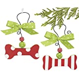 SET of 2 Wooden DOG Bone Shaped RED & Green Ornaments Holiday Party Collection