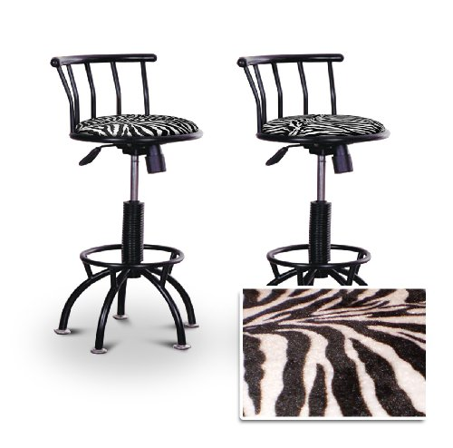 2 24'' to 29'' Adjustable Black Bar Stools (Black Metal) (Zebra)