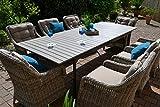 """Gartenmöbel Set Como""""XL""""-8 Tisch ausziehbar Holzdekor mit 8 Sessel Rattan"""