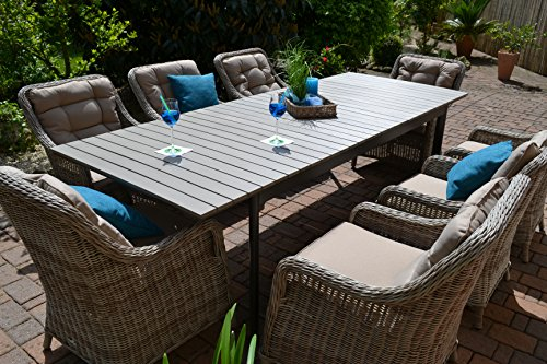 Gartenmbel-Set-ComoXL-8-Tisch-ausziehbar-205260-Holzdekor-mit-8-Sessel-Rattan-Polyrattan-Geflecht
