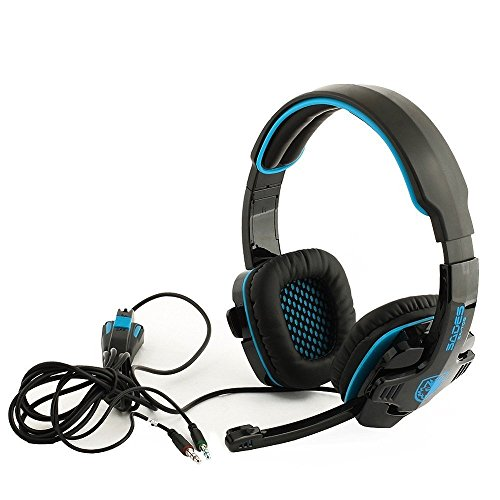 Fortech Blue Sades Sa-708 Professional 3.5Mm Pc Gaming Stereo Headset Headphone Earphones With Microphone 40Mm Hifi Driver For Laptop Computer Bl