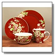 Waverly 16-Piece Tea Dance Paprika Dinnerware Set