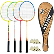 Guru Kotex BR010 COMBO-05 Badminton Racket Set Pack Of Four With Four Cover & 6 Shuttlecock Size: 27 Inch