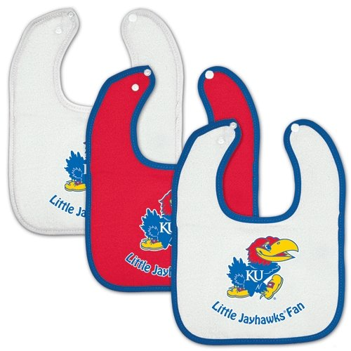 Kansas Jayhawks Official Ncaa Infant One Size Baby Bib Set By Mcarthur front-720814