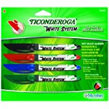 Ticonderoga White System Dry Erase Markers, Fine Tip, 4-Pack, Black/Red/Blue/Green (93040)