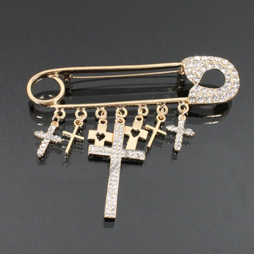 Safety Pin Cross Charm Fashion Brooch Hm1008-bc195