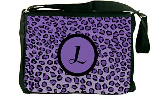 "Rikki Knighttm Letter ""L"" Initial Purple Leopard Print Monogrammed Messenger Bag - Shoulder Bag - School Bag For School Or Work With Matching Neoprene Pencil Case front-563793"