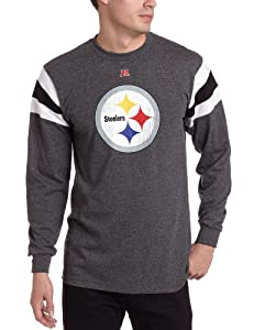 NFL Men's Pittsburgh Steelers End Of Line III Long Sleeve Crew Neck Overdyed Tee from SteelerMania