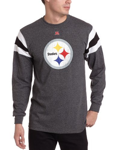 NFL Men's Pittsburgh Steelers End Of Line III Long Sleeve Crew Neck Overdyed Tee (Charcoal/White/Black, Large)