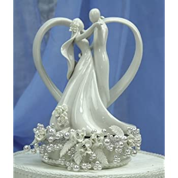 Vintage Rose Pearl and Heart Wedding Cake Topper: Base Color: SILVER WIRING