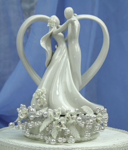Vintage Rose Pearl and Heart Wedding Cake Topper: Base Color: SILVER WIRING 2