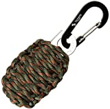 "With Sharp Eye Knife - The Friendly Swede Carabiner ""Grenade"" Survival Kit Pull with Needle, Wire, Alcohol Pad, Tin Foil, Tinder, Fire Starter, Fishing Lines, Fishing Hooks, Weights, Swivels, Dobber Wrapped in 9ft of 500 lb Paracord in Retail Packaging - Lifetime Warranty (Army Green Camo)"