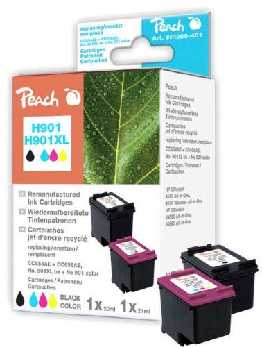 Peach Spar Pack Druckköpfe kompatibel zu HP CC654AE No 901XL black, CC656AE No 901 color