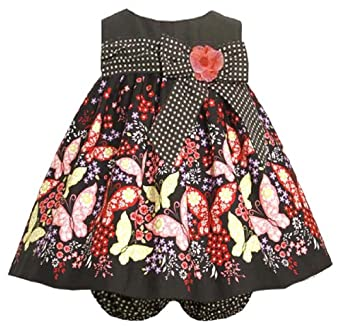 Size-12M BNJ-6820B 2-Piece BLACK MULTICOLOR BOW TRIM BUTTERFLY BORDER PRINT TRAPEZE Special Occasion Girl Party Dress,B16820 Bonnie Jean BABY/INFANT