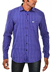Indipulse Men's Casual Shirt (IF1160308C, Purple, XXL)