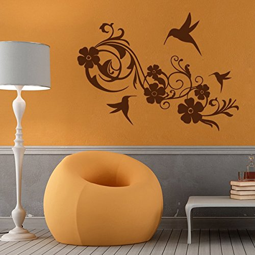 Fleurs - Sticker mural Marron 34 x 25 cm (Muraux Décoration Murale Stickers Wall Decal Autocollants Salon Chambre d'enfants Nursery Made in Germany)