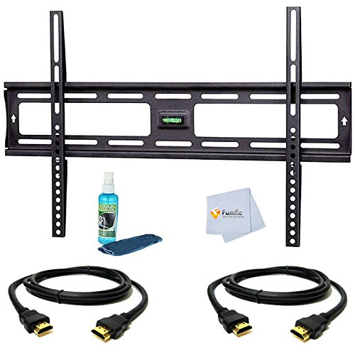 Tilt Wall Mount for Samsung 75″ for (DM75D, HG75NC890XFXZA, ME75C, UA75F6400, UN75ES9000, UN75F6300, UN75F6400, UN75F7100, UN75F8000, UN75F8000AFXZA, UN75H6350, UN75H7150, UN75HU8550) Tvs Includes Tilt Wall Mount + 2 HDMI Cables + TV Cleaner Set + Microfiber Cleaning Cloth