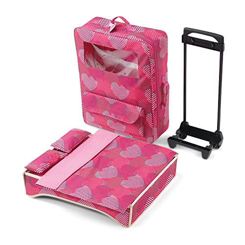 18 Inch Doll Accessories | Amazing Travel 2-Doll Carrier with Window, Includes Trolley, Backpack Straps, Loads of Storage, and Removable Doll Bed with Bedding | Fits American Girl Dolls