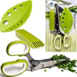Herb Scissors Stripping Multipurpose Tool - Salad Cutter Herbs Stripper Shears Stainless Steel 5 Blade Gadget Fringe Chef Scissor Shear with Cleaning Brush Fun Kitchen Gadgets Tools Best Gift Idea